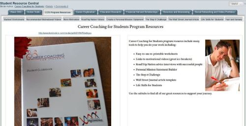 Career Coaching for Students extensive library of worksheets, videos, and more
